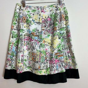 TALBOTS Scenic City Print Pleated Skirt Size 4